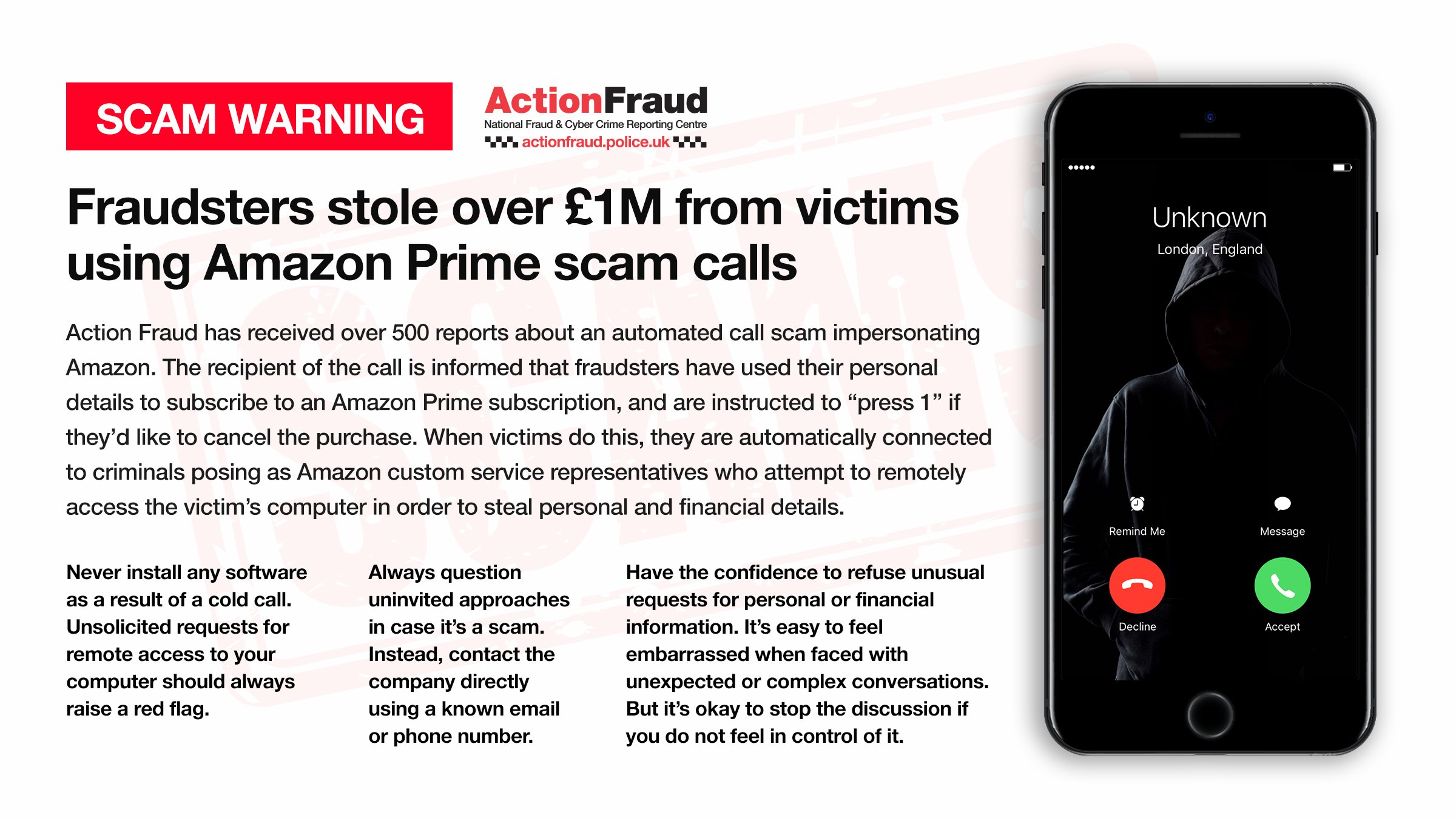 Warning after fraudsters stole over £1 million from victims using Amazon Prime scam calls